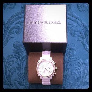 Michael Kors White Crystal Ceramic Bracelet Watch